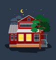 house in star night vector image