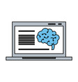 human brain on computer screen icon image vector image