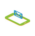 isometric concept with smartphone and incoming vector image vector image