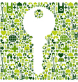 Key with green icons background vector image vector image