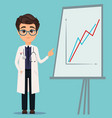 medical doctor in glasses and white coat pointing vector image vector image