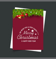 merry christmas and new year gift background vector image vector image