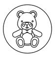 monochrome contour with teddy bear in round frame vector image vector image