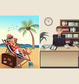 people going to work and vacation concept vector image