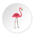 pink flamingo icon circle vector image vector image