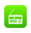 retro radio icon digital green vector image