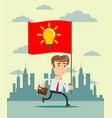 running businessmen bearing the idea leadership vector image