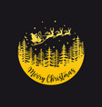 santa claus with reindeer and sleigh gold vector image vector image