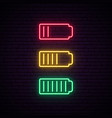 set battery neon icon charger glowing sign vector image vector image