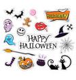 set cartoon graphic design halloween icons vector image vector image