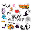 set of cartoon graphic design halloween icons vector image vector image