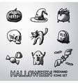 Set of freehand HALLOWEEN icons -pumpkin witch vector image vector image