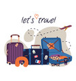 set with travel elements luggage bags suitcases vector image vector image