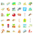 small city icons set cartoon style vector image vector image