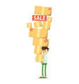 smiling man with pile of boxes icon vector image vector image