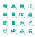 stylized communication and connection icons vector image vector image