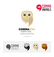 tawny owl bird concept icon set and modern logo vector image vector image