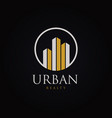 urban property logo with metal silver gold color vector image vector image