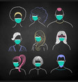 user icons people wearing face masks vector image