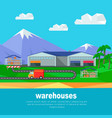 warehouses in the mountains banner lorry track vector image vector image