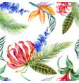 watercolor seamless pattern of tropical leaves vector image