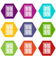 white latticed rectangle window icon set color vector image vector image