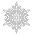 winter coloring page with anti stress snowflake vector image vector image
