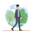 young man walking on the park avatar character vector image