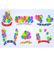 Colorful balloons with ribbons vector image