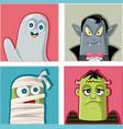 halloween monsters characters vector image