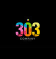 303 number grunge color rainbow numeral digit logo vector image vector image