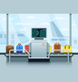 airport conveyor belt with passenger luggage
