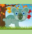 animal koala drawing on background tree and green vector image vector image