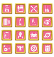 auto repair icons set pink square vector image vector image