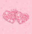 background with glittering hearts vector image vector image