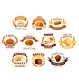 Bakery shop signs sets of bread pastry desserts vector image vector image