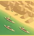 canoeing kayaking isometric composition vector image
