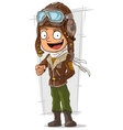 Cartoon happy pilot in leather helmet vector image vector image