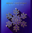 christmas and new year gold snowflake card vector image vector image