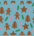 christmas seamless pattern brown gingerbread man vector image