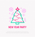 christmas tree with snowflakes thin line icon vector image