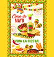cinco de mayo mexican fiesta greeting card vector image vector image