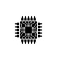 cpu microprocessor microchip circuit board flat vector image