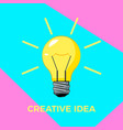 creative idea cartoon bulb with rays business vector image