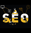 creative word concept seo and people doing things vector image