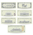 dollars banknote set cartoon us currency vector image vector image