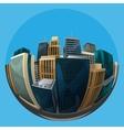 fisheye lens cityscape view city vector image vector image
