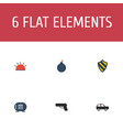 flat icons explosive shield armored car and vector image vector image