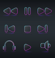 fluorescent neon media buttons icon vector image vector image