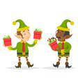 gift box christmas character elf quality check vector image
